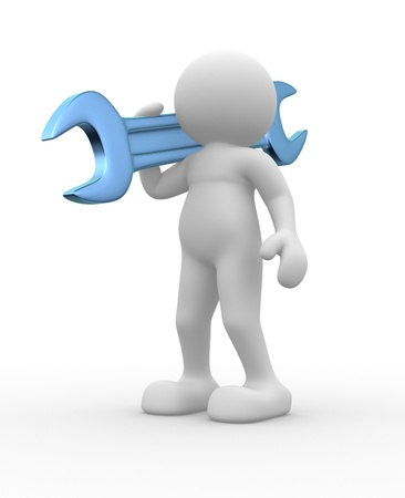 3d people - human character, person with a wrench. 3d render illustration  illustration