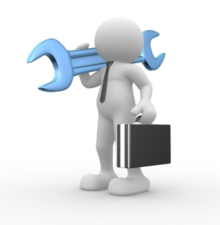 mechanic tools: 3d people - human character, person with briefcase and a wrench. Businessman and worker. 3d render illustration