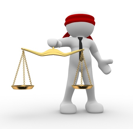 law scale: 3d people - man, person blindfolded with  a justice scale  Stock Photo