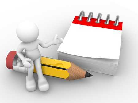3d people - human character , person with a  pencil  and a blank calendar. 3d render illustration  Stock Photo