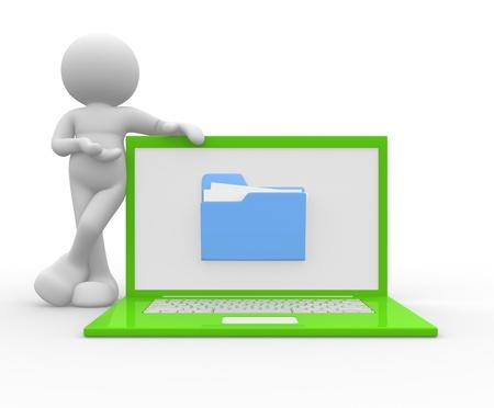 3d gente - hombre, persona con un ordenador portátil y una carpeta La oferta de servicios