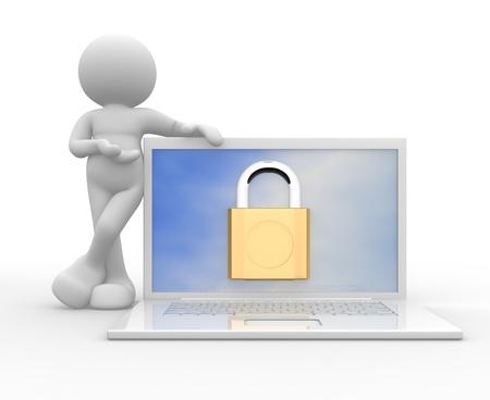 contrase�a: 3d gente - hombre, persona con una computadora port�til en l�nea los conceptos de seguridad