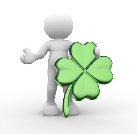 luck charms: 3d people - human character, person and a clover leaf   Shamrock    3d render illustration