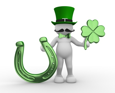 lucky charm: 3d people - human character, person with a horseshoe and  a four-leaf clover   shamrock   Sf Patrick   3d render Stock Photo