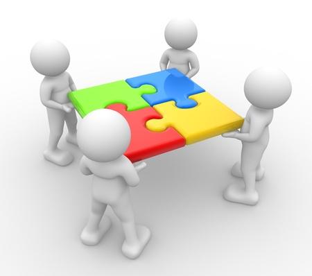 entreprise puzzle: 3d personnes - hommes, personne et casse-t�te jigsaw pieces Banque d'images