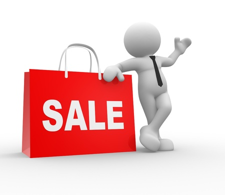 3d people - human character, person with shopping bag and word  Sale    The discount offer  photo