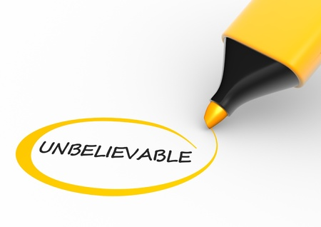 extraordinary: Word   unbelievable   and a marker  3d render  Stock Photo