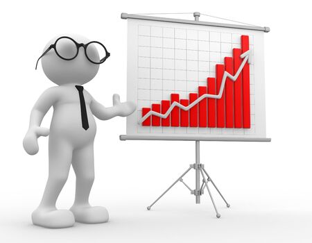 3d people - man, person with a graph financial. Businessman Stock Photo - 14815486
