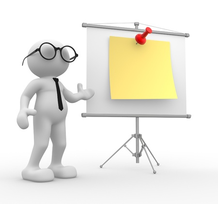 ????? 3d: 3d people - man, person with flip-chart. Businessman  Stock Photo