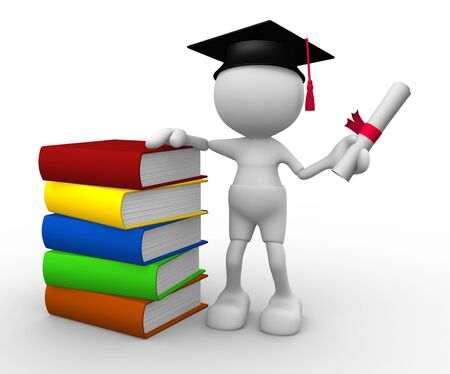 3d people - man, person with graduation and books Stock Photo - 14815551