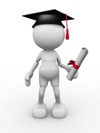 3d people - man, person with graduation and diplama. photo