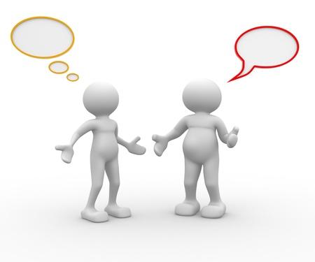discutere: Persone 3d - uomo, persona e bolle. Archivio Fotografico