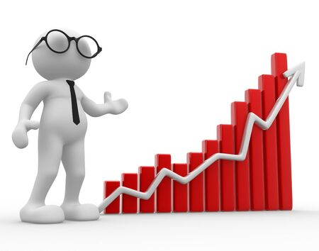 3d people - man, person with a graph financial. Businessman Stock Photo - 14815278