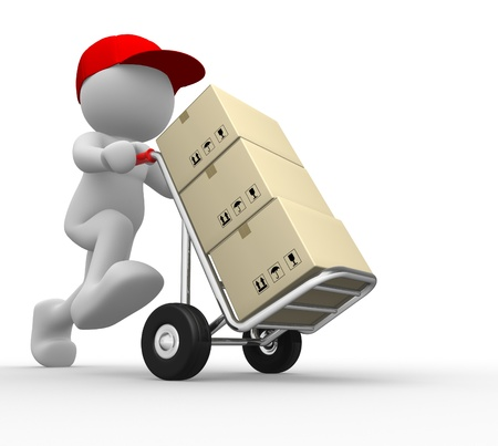 postman: 3d people - man, person with  hand trucks and packages. Postman  Stock Photo