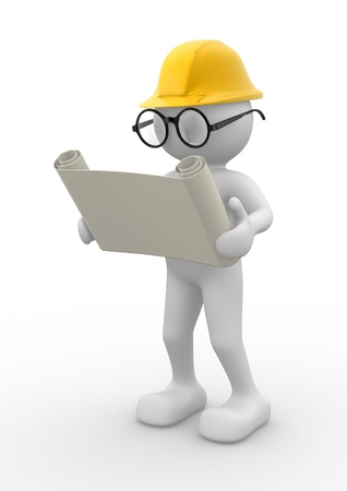 3d people - men , person with project. Engineer Stock Photo - 14814888