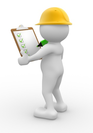 builders: 3d people - man, person with  clipboard and checklist. Builder Stock Photo