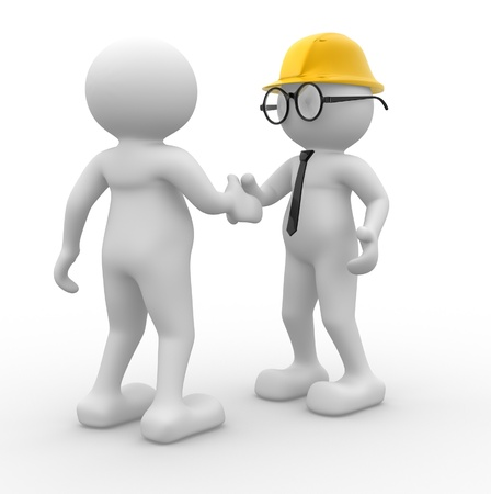 3d people - man, person with helmet. Builder and buy. Concept of deal photo