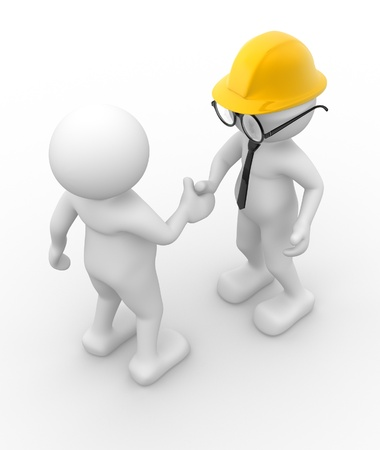 safety at work: 3d people - men , person  and helmet . Handshake. Engineer Stock Photo