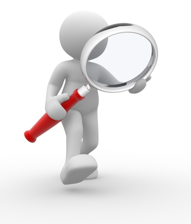 investigating: 3d people - man, person with magnifying glass