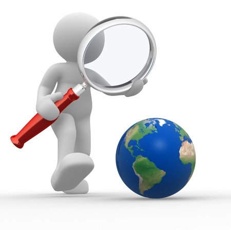 find glass: 3d people - man, person with magnifying glass looking at Earth
