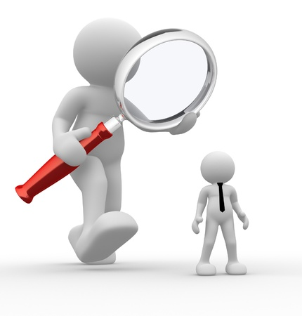 3d people - man, person with magnifying glass and businessman. Audit photo