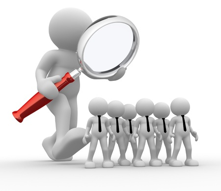 team working together: 3d people - man, person with a magnifier. Audit of the business