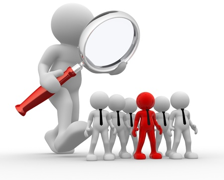 audit: 3d Menschen - ein Mann, Person mit einer Lupe. Audit des Unternehmens Lizenzfreie Bilder