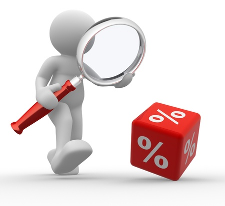 3d people - man, person with a magnifier and a percent sign. % Stock Photo - 14815154