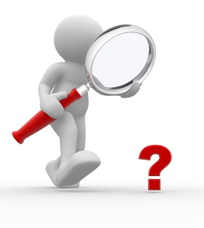 magnify: 3d people - man, person with magnifying glass question mark red search.  Stock Photo