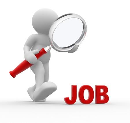 3d gente - hombre, persona con lupa en busca de trabajo.