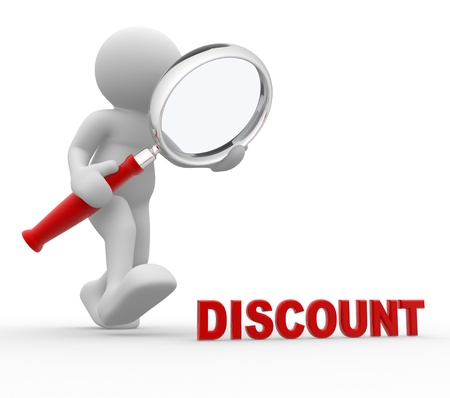 magnifying glass man: 3d people - man, person with magnifying glass and  word discount.
