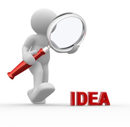idea icon: 3d people - man, person with magnifying glass and word idea.