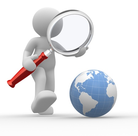 magnify: 3d people - man, person with magnifying glass looking at Earth Globe. Stock Photo