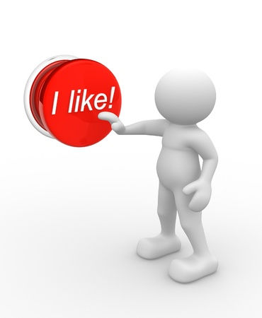 i like: 3d people - man, person and pushing button I like! Stock Photo