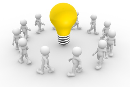 3d people - men, person and a lightbulb. Stock Photo