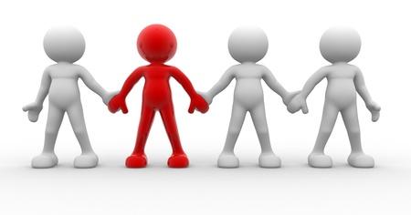 follow the leader: 3d mensen - mannen, persoon samen. Team en leiderschap