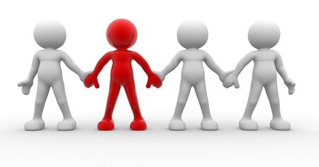 team leader: 3d people - men, person together. Team and leadership Stock Photo