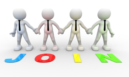 MEMBERSHIP: 3d people - men, person together . Businessman and word Join