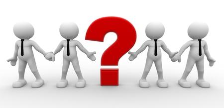 descubrir: 3d gente - hombre, persona y un signo de interrogaci�n. Empresario.