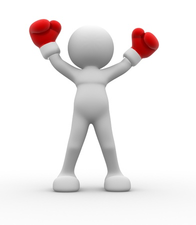 disagreement: 3d people - men , person with red boxing gloves. Boxer  Stock Photo