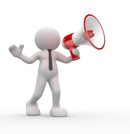 loudspeaker: 3d people - man, person with a megaphone Stock Photo