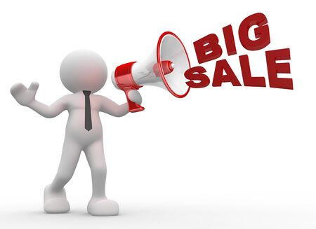 3d people - man, person with a megaphone and word 'Big Sale' photo