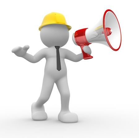 3d people - man, person with a megaphone and helmet. Builder Stock Photo - 14815036