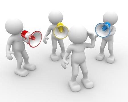 comunicar: 3d gente - hombre, persona con un megáfono. Hablando fuerte
