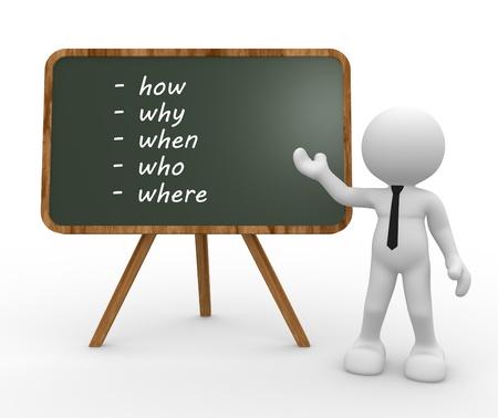3d mensen-mensen, persoon en achterwand met verschillende vragen (waar?, Wie?, Waarom?, Wanneer?, Hoe?)