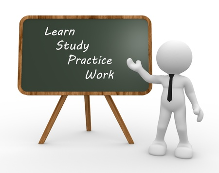 basics: 3d people - man, person and  backboard with words learn, study, practice, work. Teacher. Stock Photo