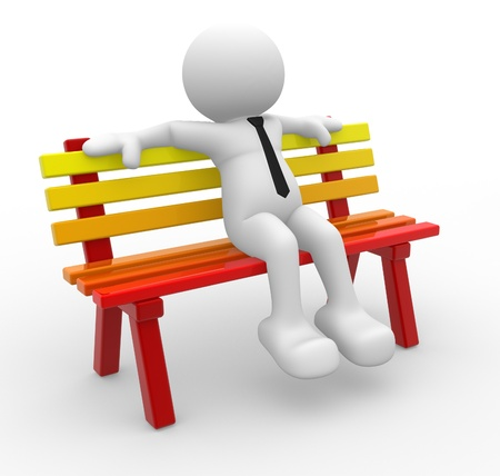 sitting in the bench: 3d people - man, person sitting on the bench. Stock Photo