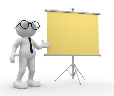3d people - men, person empty board. Stock Photo - 14815260