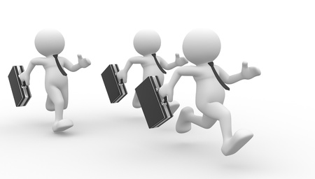 3d people - men , person running with briefcase in hand. Businessmen