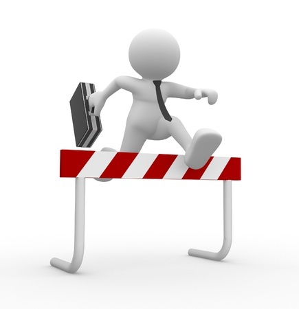 barrier: 3d people - man , person jump over the barrier. Businessman